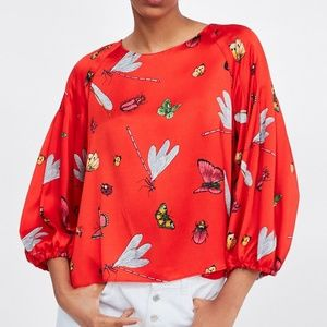 ZARA Insect Print Red Blouse Long Puff Sleeves, M